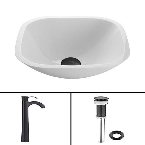 VIGO Glass Vessel Sink in Square Shaped White Phoenix Stone and Otis Faucet Set in Matte Black