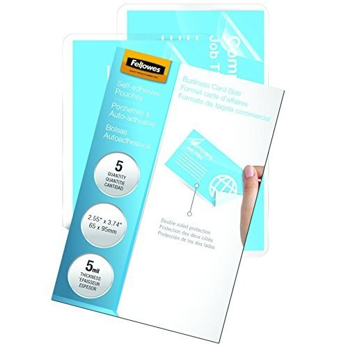 Fellowes Laminating Sheets, Self Adhesive, Business Card Size, 5 Mil, 5 Pack (5220101)