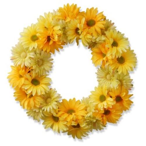 Garden Accents Artificial Yellow Cosmos Wreath Yellow 19