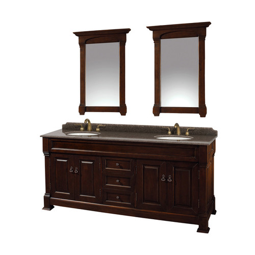 Wyndham Collection Andover Imperial Brown Granite Top Undermount Oval Sinks 72-inch Double Vanity with 28-inch Mirrors [Finish : Cherry Finish]