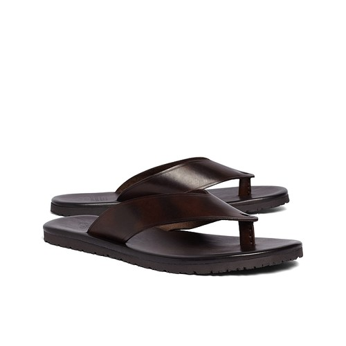 Leather Wide Strap Sandals