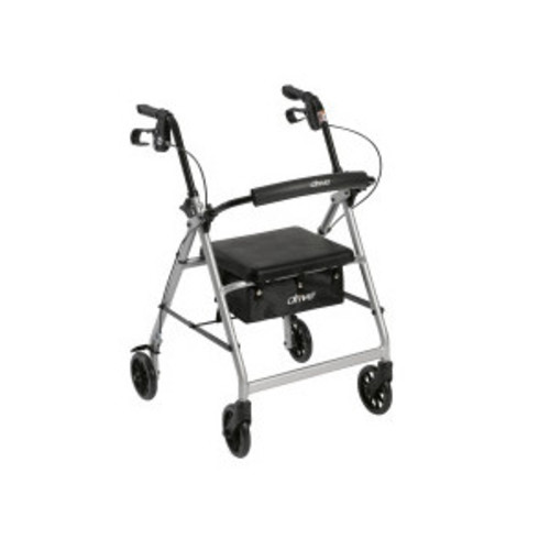 Drive Medical Silver Rollator Walker with Fold Up and Removable Back Support and Padded Seat