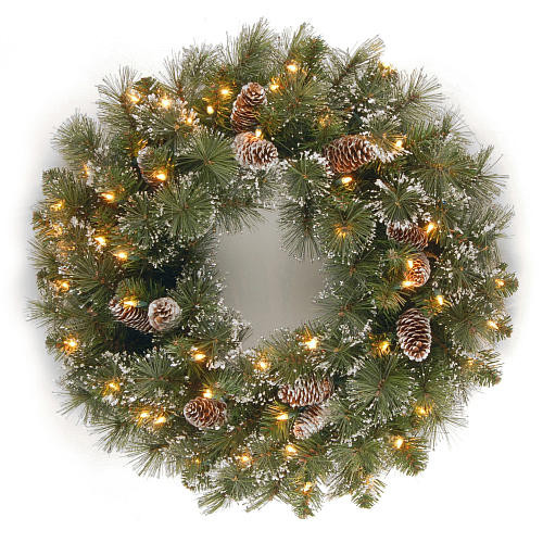 24 inch Glittery Pine Wreath with Clear Lights