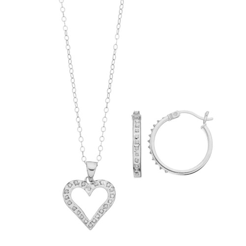 Diamond Mystique Platinum Over Silver Heart Pendant & Hoop Earring Set