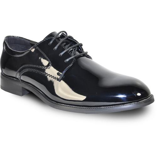 VANGELO Men's Tab Dress Oxford Wide Width Available - Black Patent
