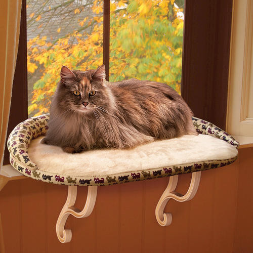 Deluxe Kitty Sill With Bolster Tan Kitty Print 14