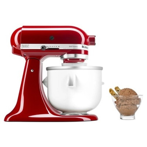 KitchenAid KICA0WH Ice Cream Maker Attachment - Excludes 7, 8, and most 6 Quart Models [fits 5 and 6 quart mixers]