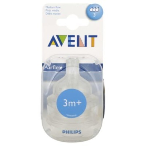Avent Baby Bottle Nipple, Medium Flow, 2 pk.