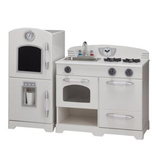 Teamson Kids Retro Wooden Play Kitchen - White (2pc)