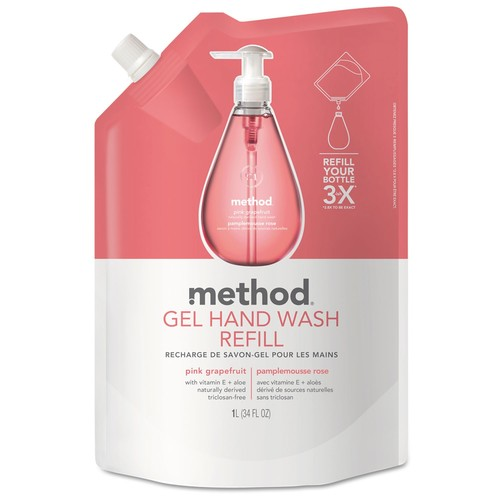 Method Gel Hand Wash Refill, Pink Grapefruit, 34 oz Pouch, 6/Carton | PJP Marketplace