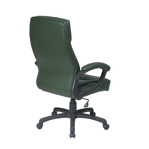 Office Star High Back Thick Padded Contour Seat and Back Eco Leather Executive Chair with Locking Tilt Control with Matching Stitching, Green [Green]