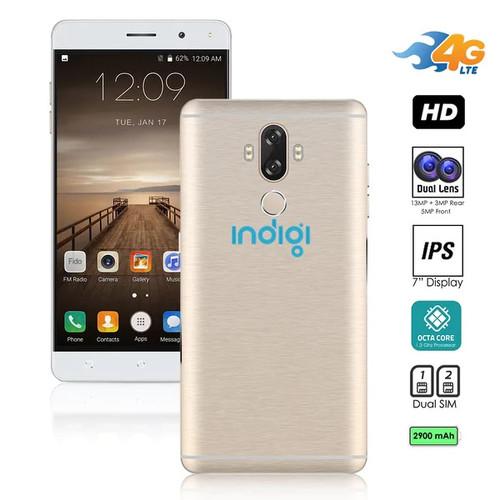 Indigi Unlocked 4G LTE 6-inch Android 7.0 Nougat SmartPhone (Octa-Core 1.3GHz + Fingerprint Scan + 13MP CAM + 2 SIM Slots)(G