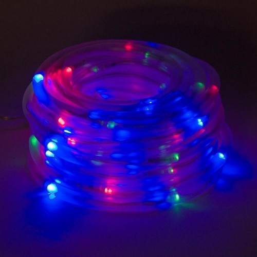 GreenLighting 100 Light 32 ft. Solar Powered Integrated LED Red/Green/Blue Christmas Rope Lights