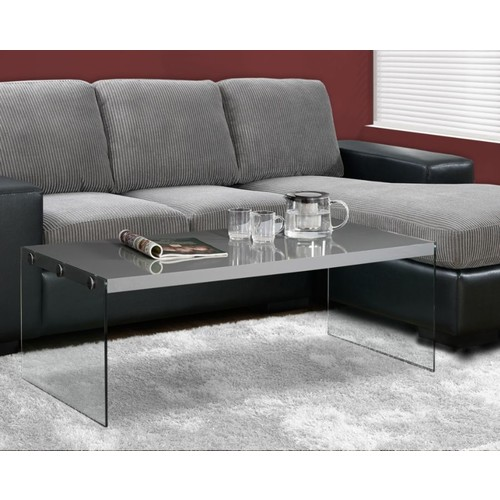 Monarch Specialties Tempered-Glass Coffee Table, Rectangular, Glossy Gray