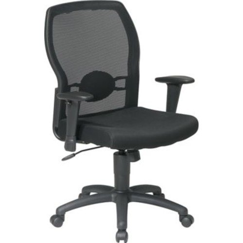 Office Star 599302-231 Work Smart Fabric Mid-Back Task Chair with Adjustable Arms, Black