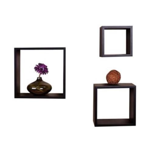 Welland Industries LLC Victorian Wall Cube Shelf; Black