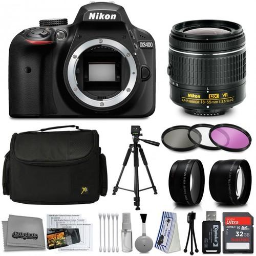 Nikon D3400 DSLR Camera with AF-P 18-55mm Lens + 32GB 15PC Bundle Kit