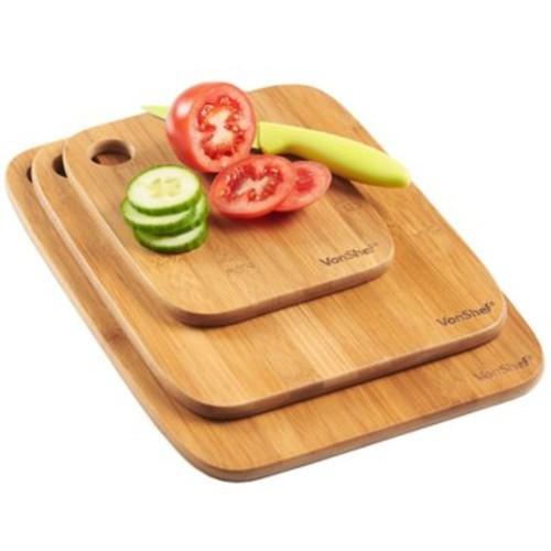 VonShef 3 Piece Bamboo Wooden Cutting Board Set