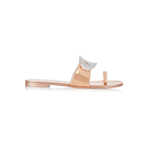 Embellished metallic patent-leather sandals