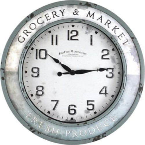 FirsTime Vintage Grocery Round Wall Clock in Teal