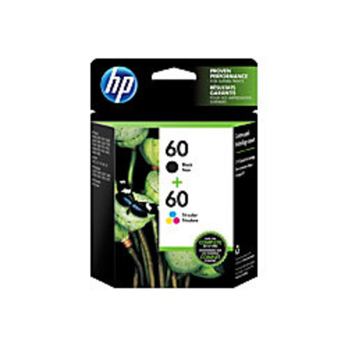 HP 60 Black/Tricolor Ink Cartridges (N9H63FN#140), Pack Of 2