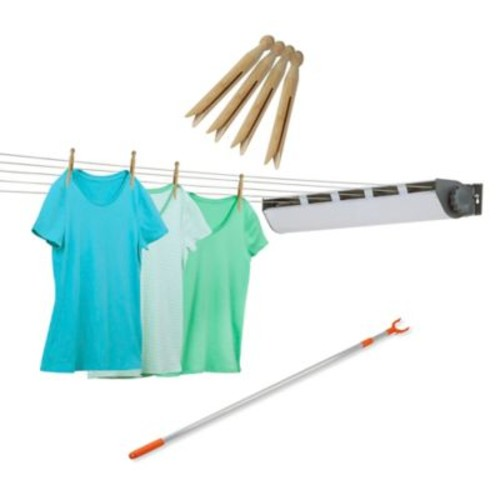 Honey-Can-Do 5-Line Retractable Outdoor Clothes Dryer, Clothesline Pole and Clothespins
