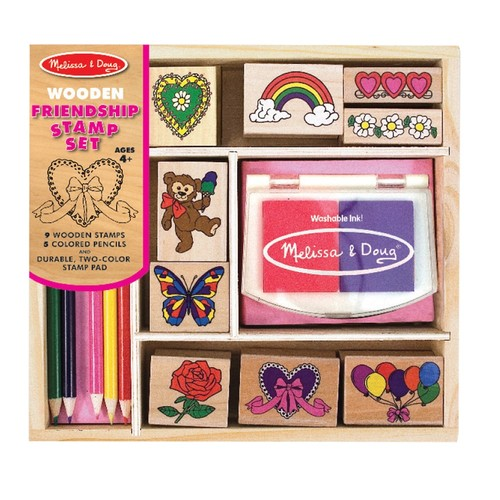 Melissa & Doug Wooden Stamp Set: Friendship - 9 Stamps, 5 Colored Pencils, and 2-Color Stamp Pad [Standard Version]