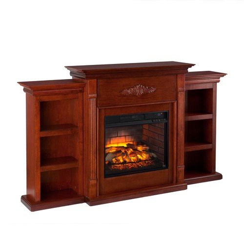 Greenfield 70.25 in. W Infrared Electric Fireplace with Bookcases in Classic Mahogany