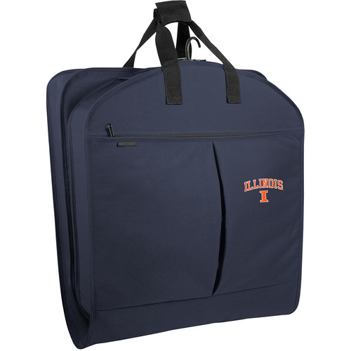 WallyBags Illinois Fighting Illini 40 Inch Suit Length Garment Bag with Pockets, Navy, One Size [Navy IL]