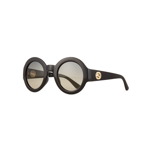 GUCCI Embossed Gradient Round Sunglasses, Black