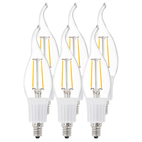 Artiva USA LED Filament 2700K Warm Light Flame Tip Bulb True 360 Degree Bean Angle