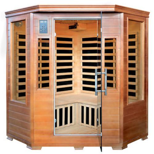 Luxe 3-Person Hemlock Corner Infrared Sauna with 7 Carbon Heaters