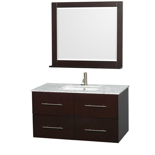 Wyndham Collection Centra 42-inch Single Bathroom Vanity in Espresso, with Mirror