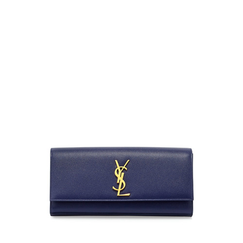 SAINT LAURENT Monogram Calfskin Clutch Bag, Cobalt Blue