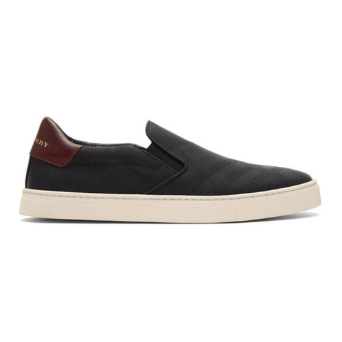BURBERRY Black Copford Check Slip-On Sneakers