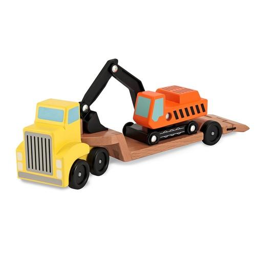 Melissa & Doug Trailer & Excavator Wooden Vehicles Playset