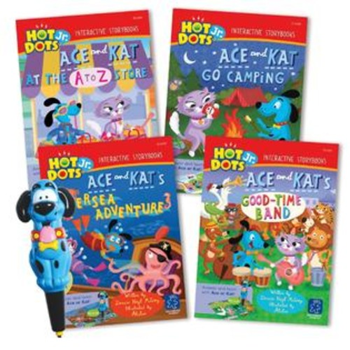 Learning Resources Educational Insights Hot Dots Jr. Interactive Storybooks, 4-Book Set with Ace Pen