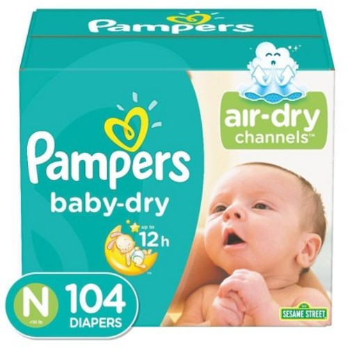 Pampers Baby Dry Diapers Super Pack Size Newborn (104 ct)