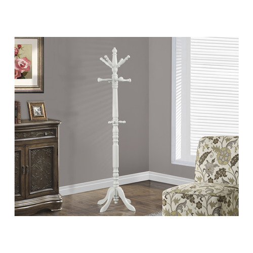 Monarch Specialties I-2013 Antique White Traditional Solid Wood Coat Rack