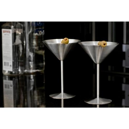 Visol Charlotte 8 oz. Stainless Steel Martini Glass (Set of 2)