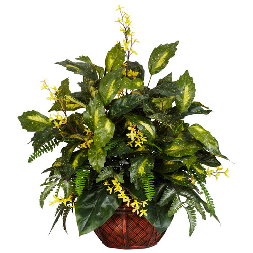 nearly natural Silk Forsythia & Mixed Greens Plant