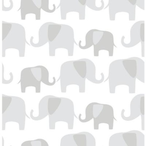 NuWallpaper Grey Elephant Parade Peel and Stick Wallpaper
