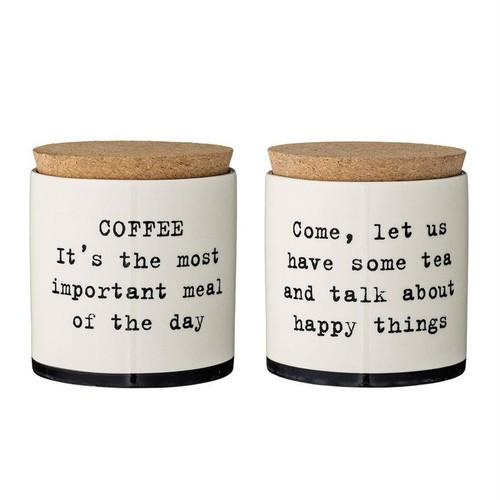Set of 2 Josephine Stoneware Jar w\/ Cork Lids in 2 Styles design by BD Edition