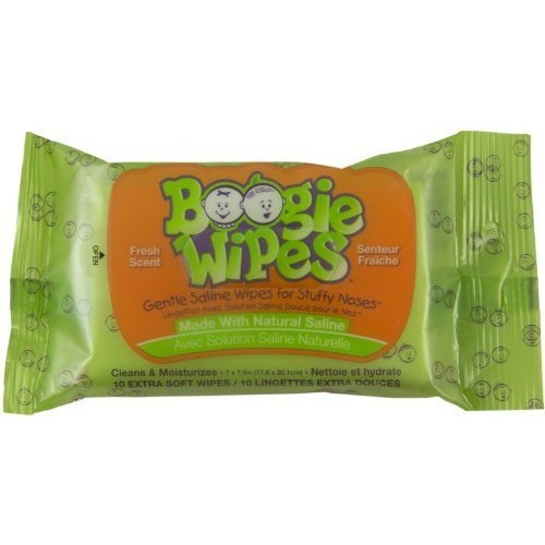 Boogie Wipes Fresh Scent Wipes - 5 Packs Travel Fresh Booger Wipes Bundle - 5 Packs of 10 Count Non-Medicated Travel Pack Boogie Wipes [green, 5 packs]