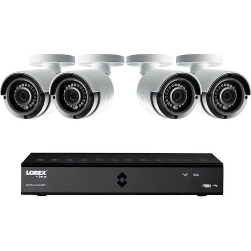 Lorex - 8-Channel, 4-Camera Indoor/Outdoor 1080p Wired 1TB DVR Surveillance System - Black/white