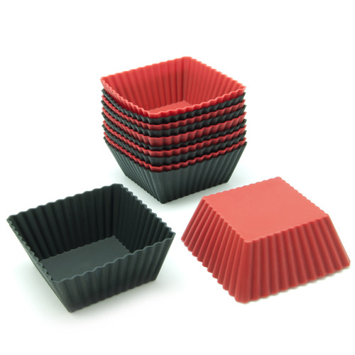 Freshware 12-Pack Square Silicone Reusable Baking Cup