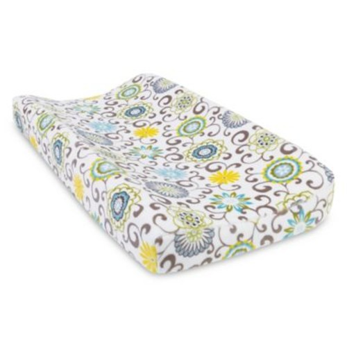 Trend Lab Waverly Pom Pom Spa Plush Changing Pad Cover in Blue/Green