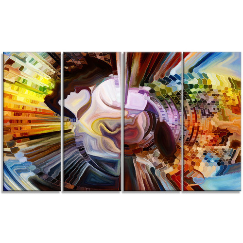 Designart 'Layers of Inner Paint' Abstract Metal Wall Art [option : 28W x 12H 1 Panel]