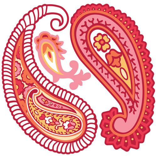Paisley Please Red and Pink Wall Art Decal Kit
