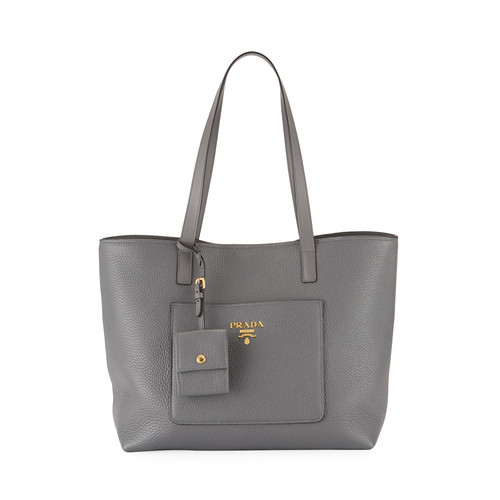 PRADA Medium Vitello Daino Open Tote Bag, Gray